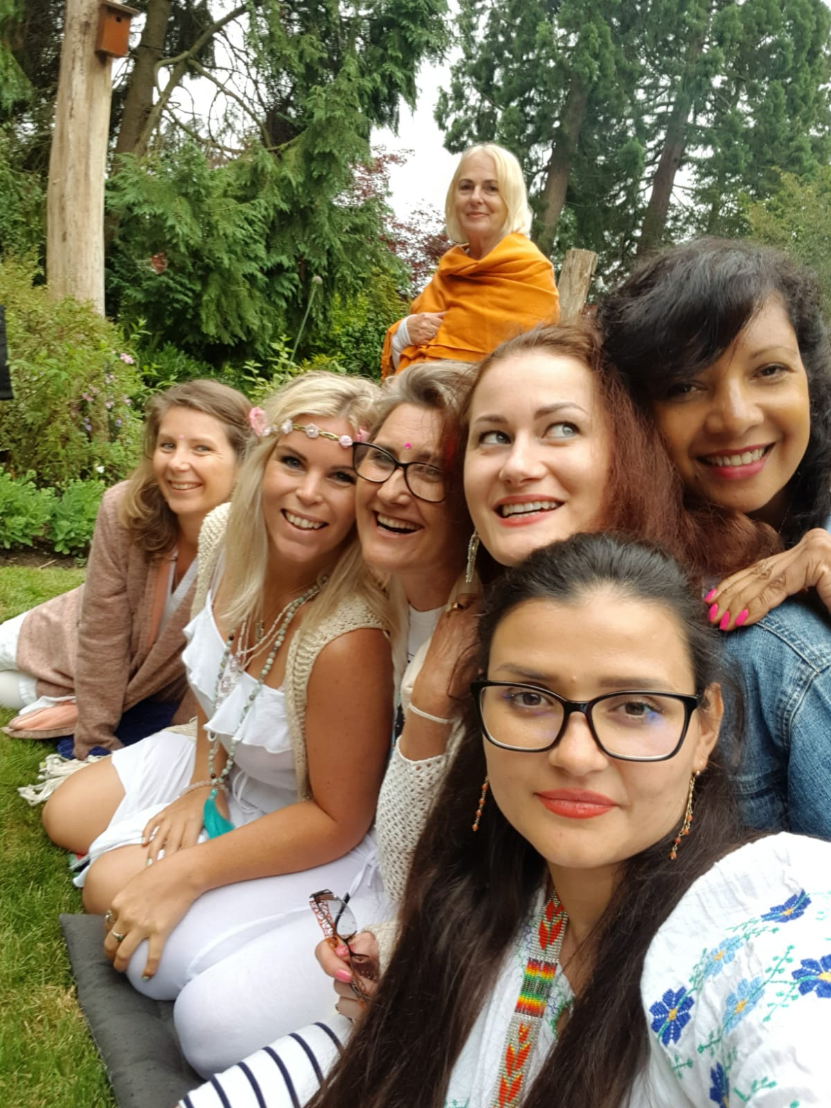 Claudia with women in Auroville