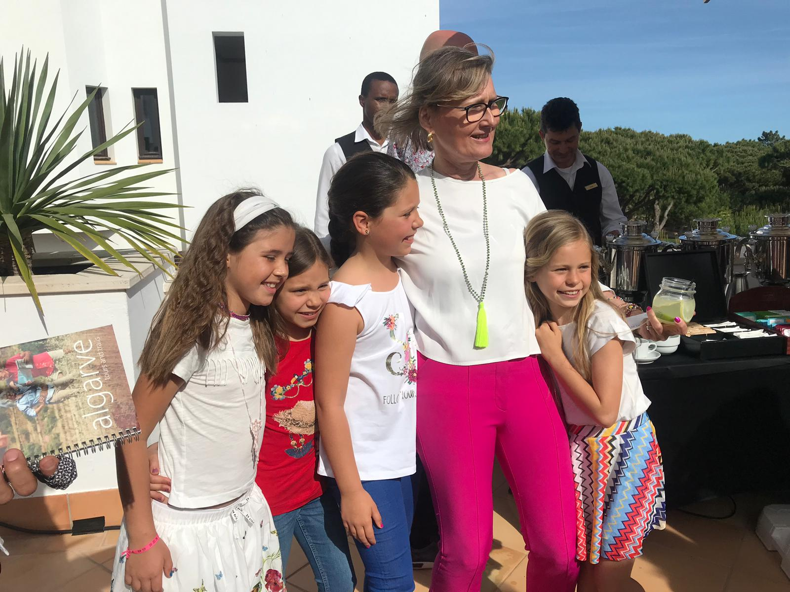 Claudia with the children